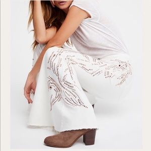 Denim - Free People We Winter White High Rise Flare Jeans